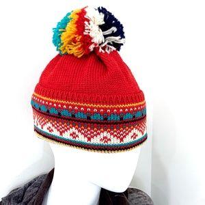 Vintage Dale of Norway Red Wool Ski Hat Pom Pom